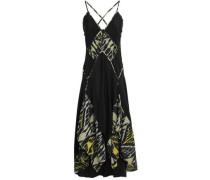 Asymmetric Printed Silk-crepe Midi Dress Black