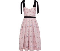 Tie-detailed Pleated Floral-jacquard Dress Baby Pink