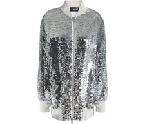 Sequined mesh bomber jacket