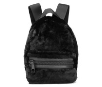 Leather-trimmed shearling backpack