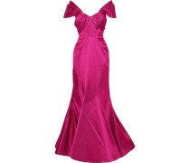 Off-the-shoulder fluted duchesse-satin gown