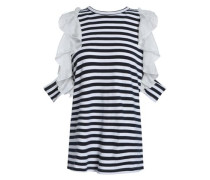 Ruffled silk-trimmed striped cotton-jersey top