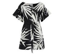 Vivian printed textured cotton-poplin mini dress