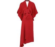 Meyers Asymmetric Hammered Silk-satin Midi Dress Red
