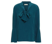 Draped Washed-silk Blouse Teal