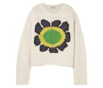 Intarsia Wool-blend Sweater Ivory  /L