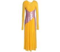 Sequined Mesh-paneled Chiffon Midi Dress Saffron