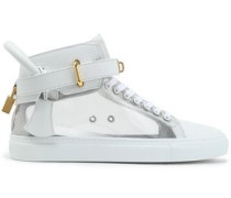 Embellished paneled two-tone leather sneakers