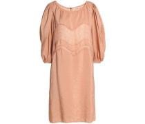 Lace-trimmed crinkled-taffeta dress