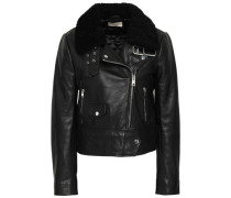 Shearling-trimmed Leather Biker Jacket Black Size 0