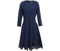 Flared Broderie Anglaise-trimmed Knitted Dress Navy