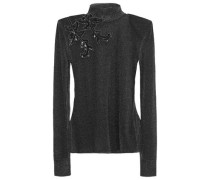 Embellished Metallic Knitted Top Charcoal