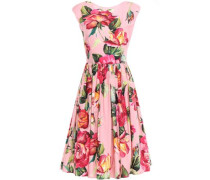 Flared Gathered Floral-print Cotton-poplin Dress Baby Pink