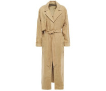 Frayed Linen Trench Coat Sand Size 1
