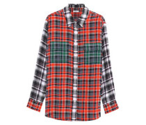 Checked silk-crepe de chine shirt
