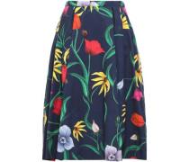 Pleated Floral-print Cotton-blend Midi Skirt Navy