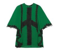 Tie-back lace-trimmed crepe blouse