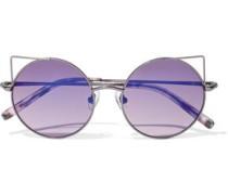Round-frame Gunmetal-tone Sunglasses Lilac Size --