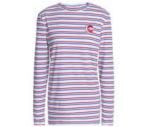 Appliquéd striped cotton-jersey top
