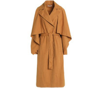 Cape-effect belted woven trench coat