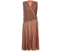 Pleated Striped Tulle Midi Wrap Dress Peach