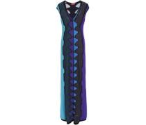 Paneled metallic crochet-knit maxi dress