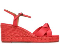 Becca knotted satin espadrille wedge sandals