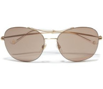 Woman Aviator-style Gold-tone Sunglasses Brown