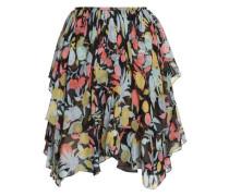 Ruffled Printed Silk-georgette Skirt Black