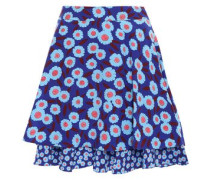 Layered Floral-print Silk Mini Skirt Cobalt Blue Size 0