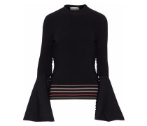 Striped Intarsia-knit Top Black