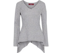 Woman Grace Asymmetric Mélange Ribbed-knit Sweater Light Gray