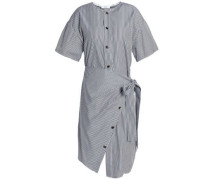 Wrap-effect Button-detailed Striped Cotton-poplin Dress Gray