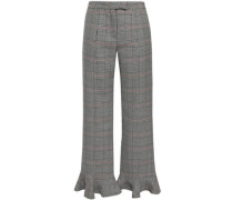 Fluted Prince Of Wales Checked Straight-leg Pants Black
