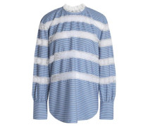 Lace-trimmed Striped Poplin Top Blue