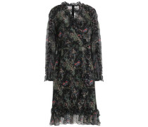Ruffled floral-print georgette dress