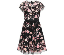 Ruffled Embroidered Tulle Dress Black Size 0