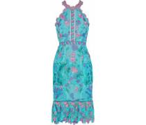 Ruffled floral-appliquéd guipure lace dress