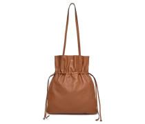 Leather Shoulder Bag Tan Size --