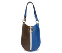 Woman Earring Medium Zip-detailed Leather Shoulder Bag Chocolate