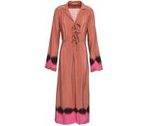 Bow-detailed printed silk crepe de chine midi dress