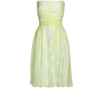Strapless ruched silk corded lace dress