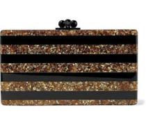 Jean striped glittered acrylic box clutch