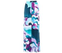 Printed Twill Wide-leg Pants Multicolor