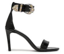 Croc-effect Leather Sandals Black