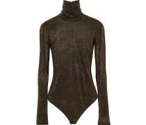 Barrow Lamé Turtleneck Bodysuit Bronze