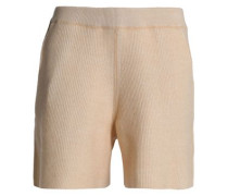 Ribbed wool and cotton-blend shorts