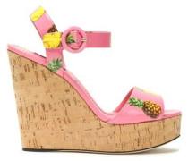 Printed patent-leather platform wedge sandals