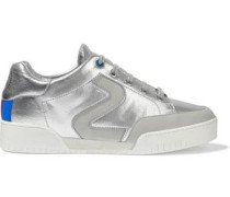 Metallic perforated faux suede and leather sneakers