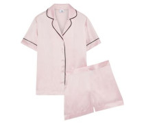 Woman Karitas Silk-blend Charmeuse Pajama Set Pastel Pink